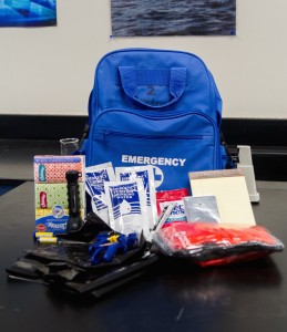 Lynbrook Room 2's emergency backpack with the new items. Photo taken by Jackie Chou.